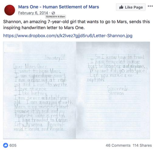Mars one post